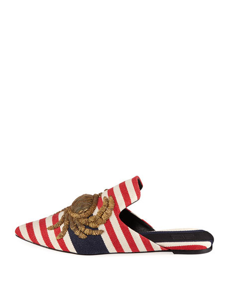 Striped Crab-Embroidered Mule