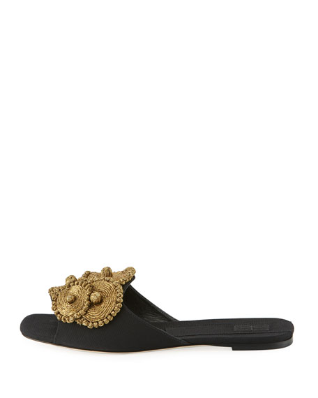 Flat Grosgrain Slide Sandal with Floral Embroidery