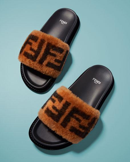 Fendi FF Fur Pool Slide Sandal