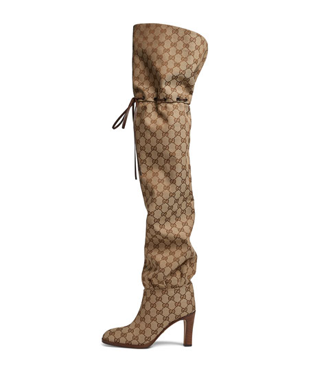 Lisa Leather-Trimmed Logo-Jacquard Over-The-Knee Boots, Beige