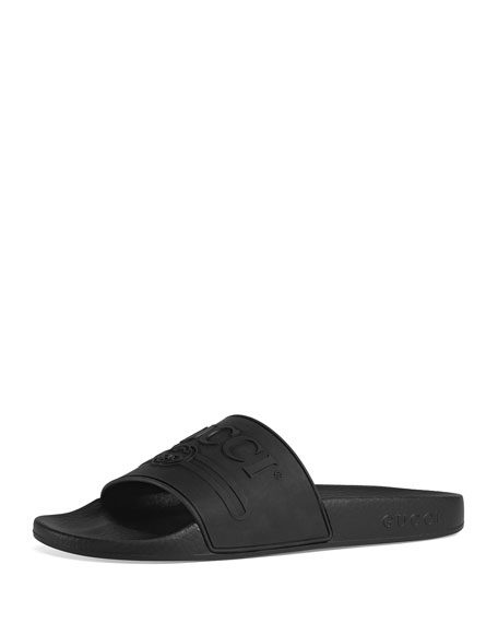 Pursuit Rubber Logo Slide Sandals, Black