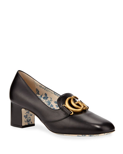 Victoire Leather Double-G Loafer Pump