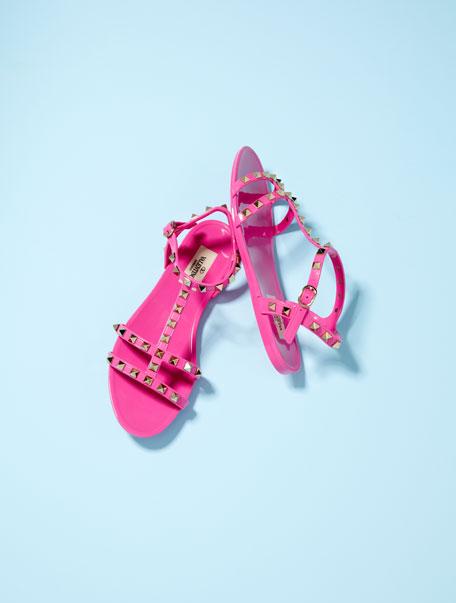 PVC Rockstud Flat Sandals