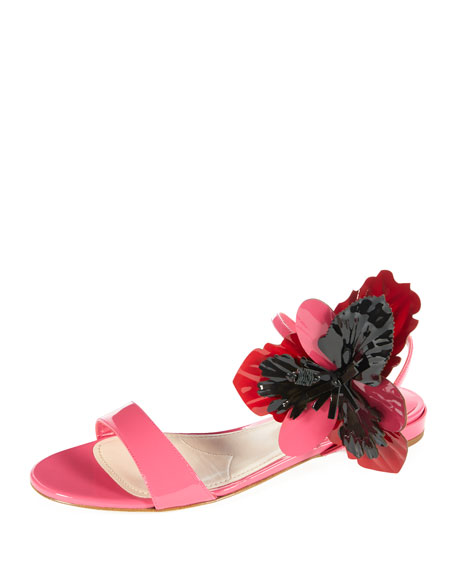 Miu Miu Patent Leather Sandal w/Oversized Flower