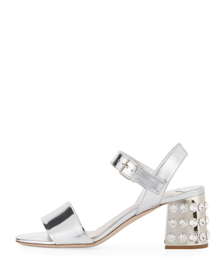 Jeweled-Heel 65mm Mirrored Leather Sandal