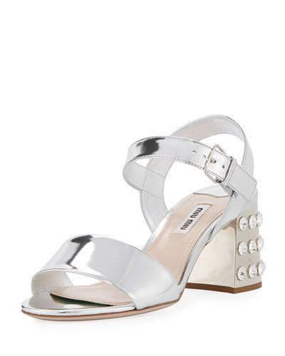 Jeweled-Heel 65mm Mirrored Leather Sandal