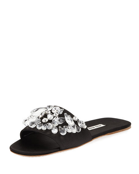 CRYSTAL-EMBELLISHED SATIN SLIDE SANDALS