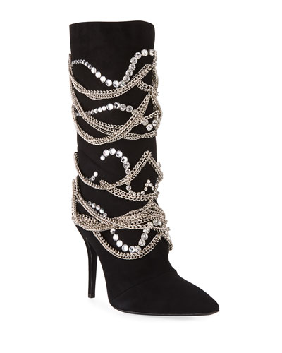 e5bd9dca1c780 Giuseppe Zanotti Suede Mid-Calf Boot with Chain Detail