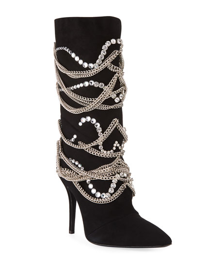 Giuseppe Zanotti Suede Mid-Calf Boot with Chain Detail