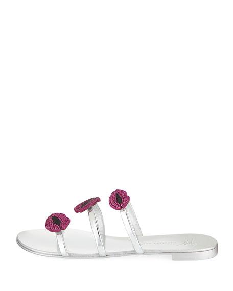 Lips Three-Band Flat Slide Sandals