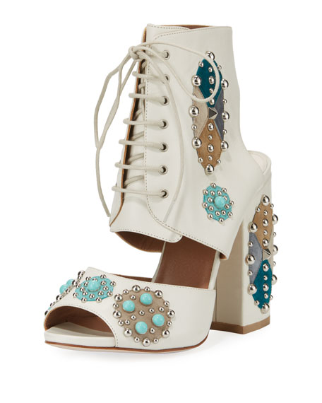 Laurence Dacade ROMO STUDDED LACE-UP SANDAL