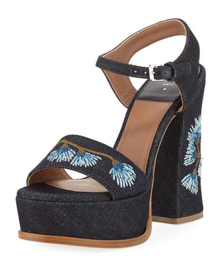 Perla Embroidered Denim Platform Sandal, Blue