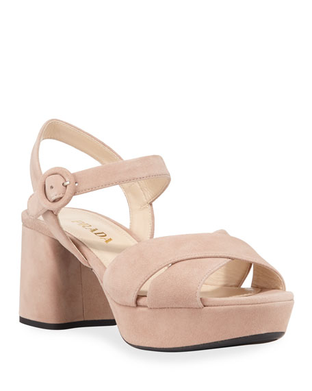 Image 1 of 1: Suede Crisscross Ankle-Wrap 65mm Sandals