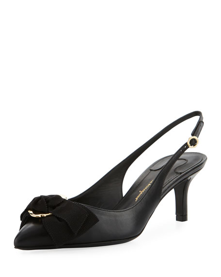 Napa Leather Slingback Bow Pump