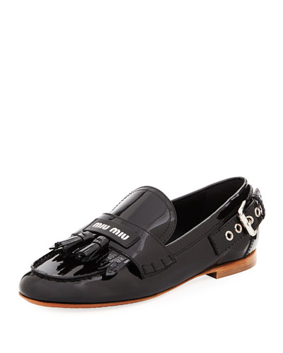 Patent Flat Moccasin with Tassels