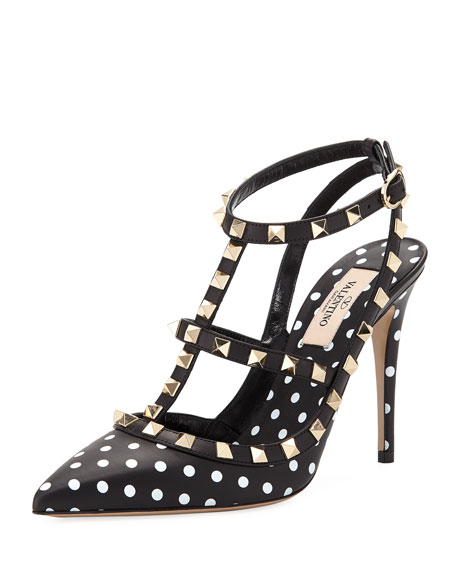 ROCKSTUD DOTTED LEATHER PUMPS