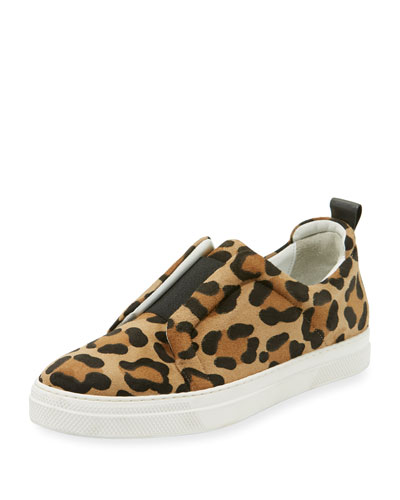 Slider Leopard-Print Suede Stretch Low-Top Sneaker