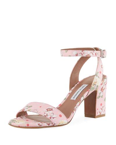 Leticia Floral Block-Heel Sandal