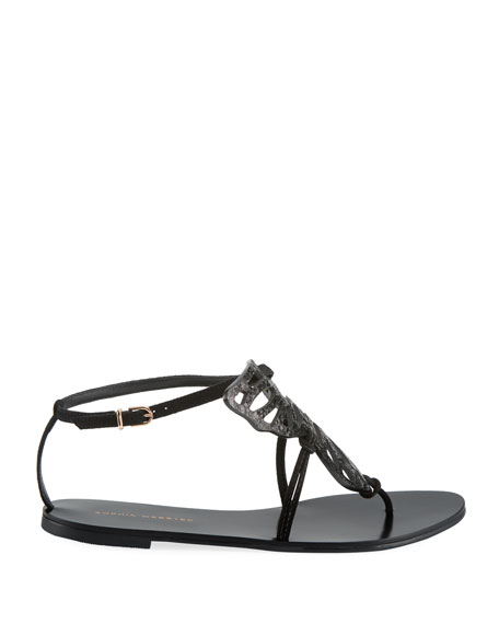 Bibi Butterfly Flat Sandals, Black