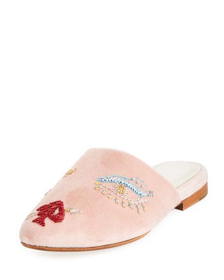 ZYNE Lucky Ii Beaded Slide Mule in Pink