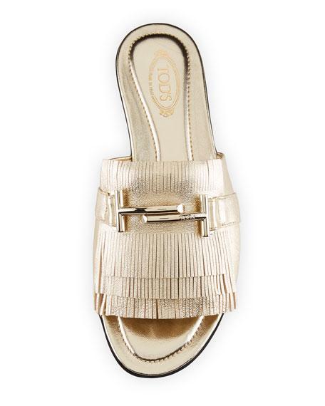 Double T Fringe Slide Sandal