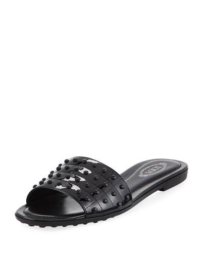 Gommini Studded Slide Sandal, Black