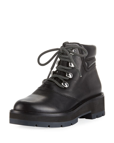 Dylan Leather Lace-Up Hiking Boots, Black