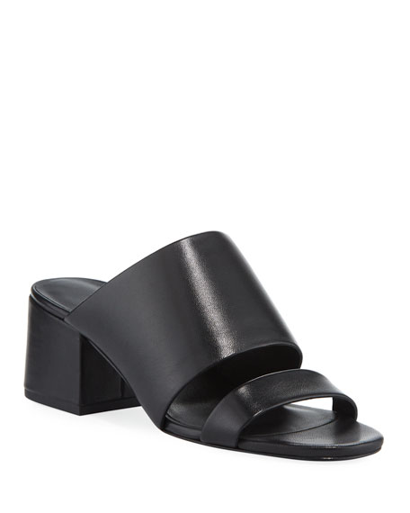 Cube Sandal Heel Slide Leather Block lc3FK1TJ