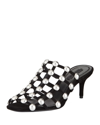 Sofia Dome-Studded Slide Mule