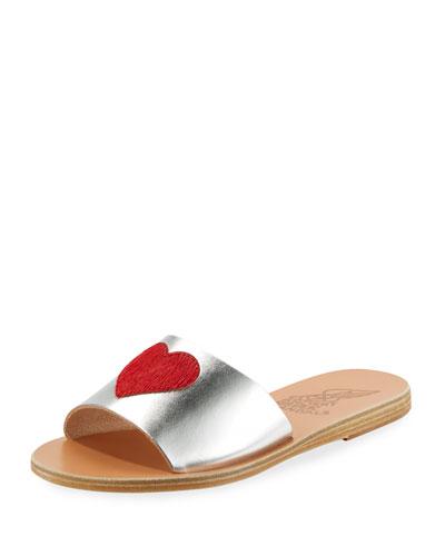 Flat Slide Sandal with Fur Heart