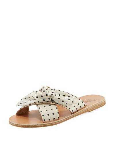 Polka-Dot Satin Knotted Sandal