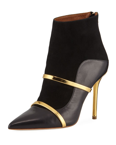 By Roy Luwolt Black And Gold Nappa Leather And Suede High Heel Boots