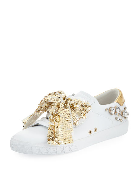 Demon Sneakers With Sequin Bow, White