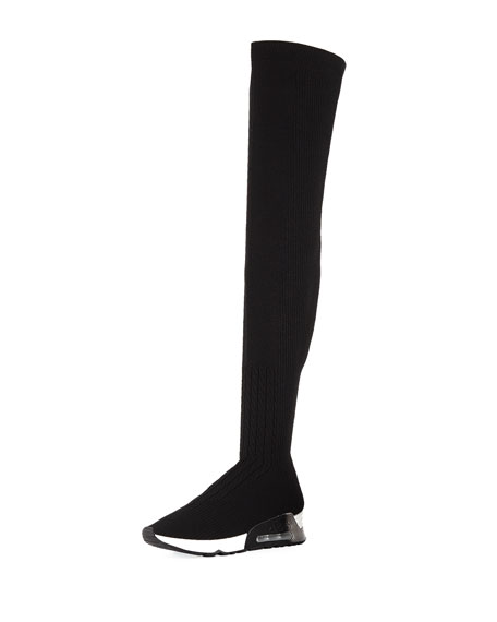 ASH Women'S Lola Knit Over-The-Knee Wedge Boots in Black