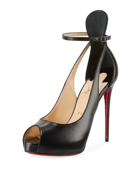 Mascaralta Platform Peep-Toe Red Sole Sandals, Black