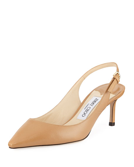 Erin 60 Leather Slingback Pumps, Beige