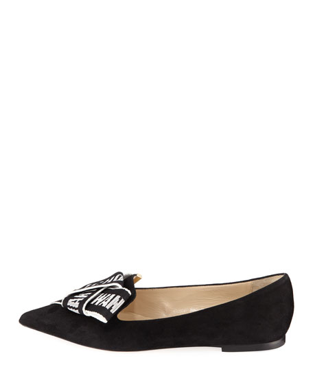 Gleam Suede Flat with Logo Bow