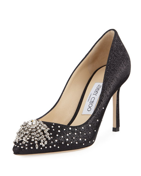 Joan 85Mm Wet-Look Fabric Pumps With Firework Crystal, Black