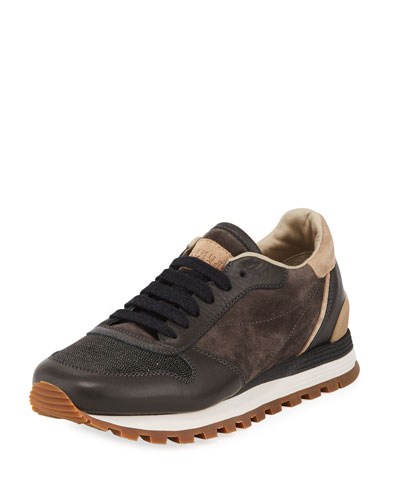 Suede/Leather Monili-Toe Trainer Sneaker
