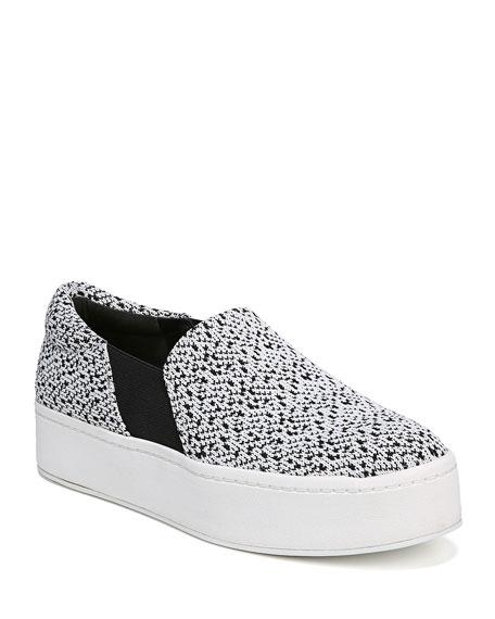 Women'S Warren Knit Platform Sneakers, White/Black