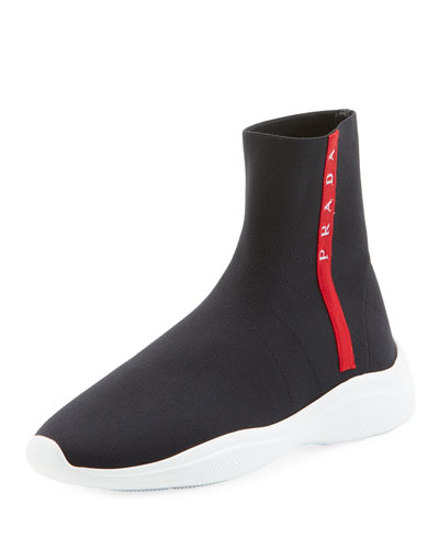 High-Top Sock Knit Trainer Sneakers