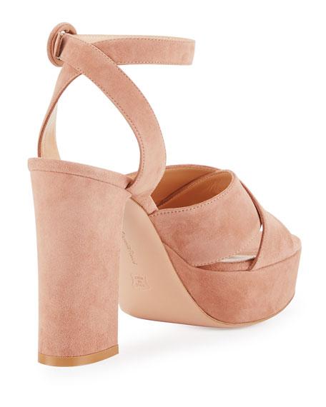 Suede Platform Ankle-Strap Sandal