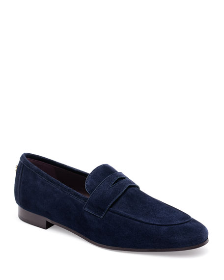 Suede Slip-On Penny Loafer, Navy