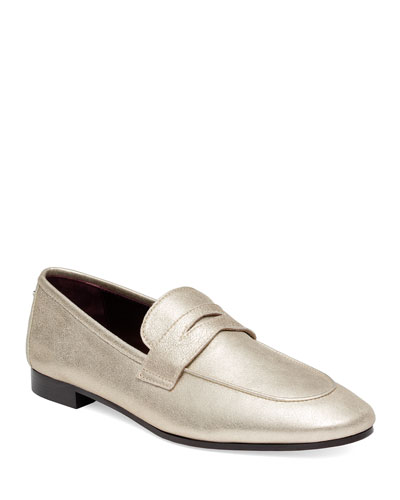 Flaneur Metallic Slip-On Penny Loafers