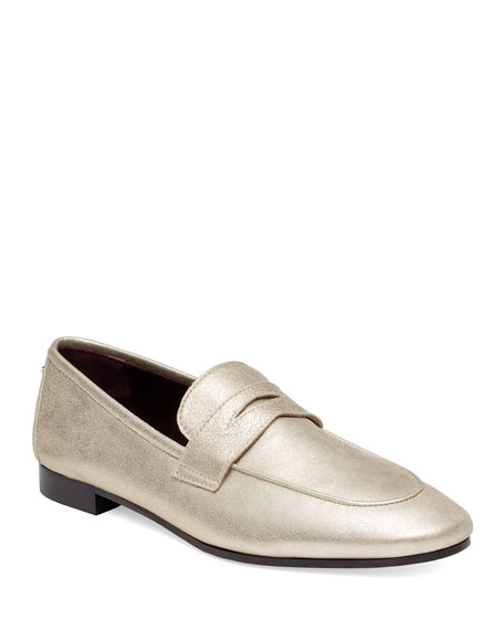 BOUGEOTTE FLANEUR METALLIC SLIP-ON PENNY LOAFERS