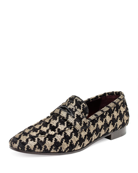 Tweed Slip-On Penny Loafer, Black Pattern