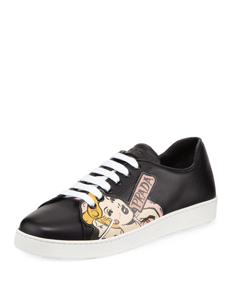 COMIC STRIP LEATHER SNEAKERS