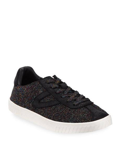 Women'S Glitter Knit Lace Up Sneakers, Black Pattern