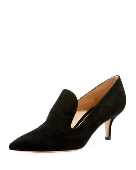 Suede Loafer-Style Pumps