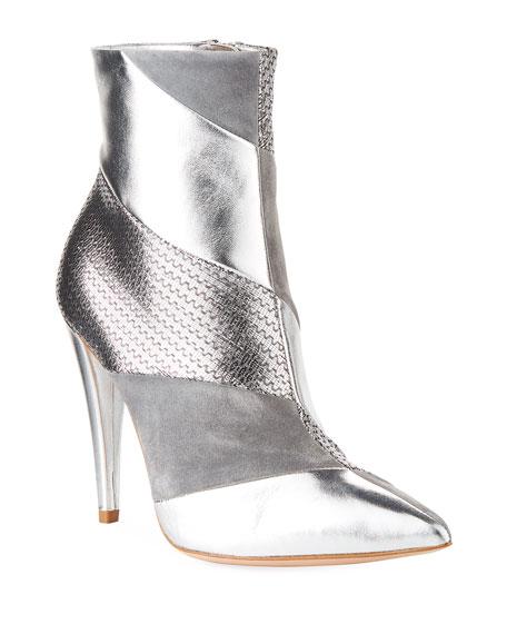 Gianvito Rossi Multi-Textile Metallic Booties